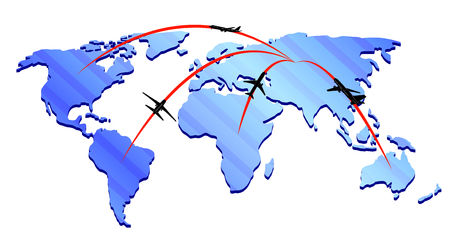 airlines: Map airlines icon with silhouettes of planes