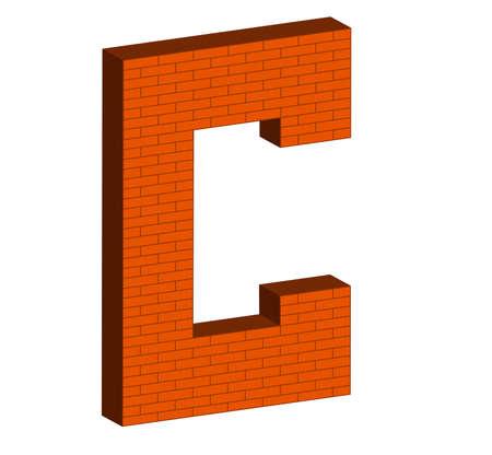 numerology: 3D letter alphabet of brick