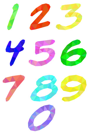 numerology: Polygonal numbers on a white background of colored triangles