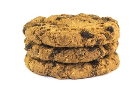 oatmeal cookies: Oatmeal cookies with raisin on white background