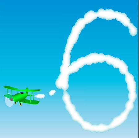 비행기는 하늘에 숫자를 그립니다. 육 일러스트
