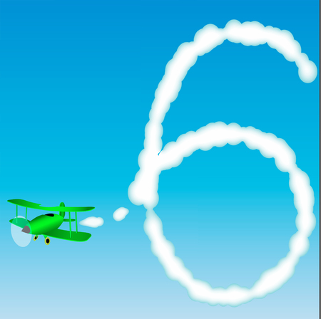 The plane draws a number in the sky. Six
