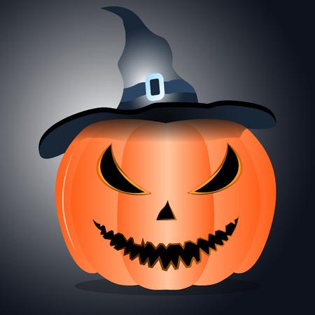 alone in the dark: Evil pumpkin for Halloween on dark background