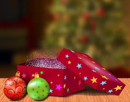 magic box: Magic box with balls on blurred background