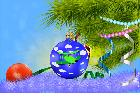 beck: Postcard for the new year 2017 with Christmas tree and balls Illustration