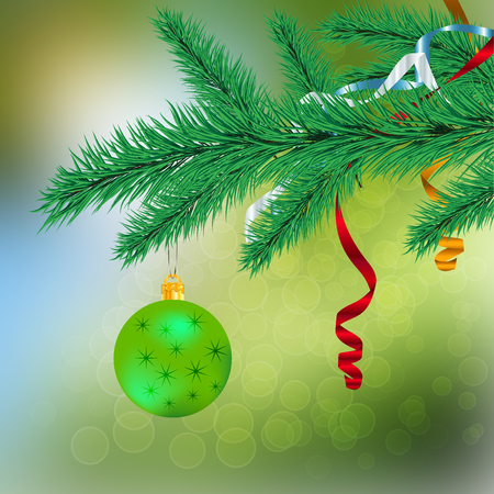 coniferous: The green ball on a spruce branch Illustration