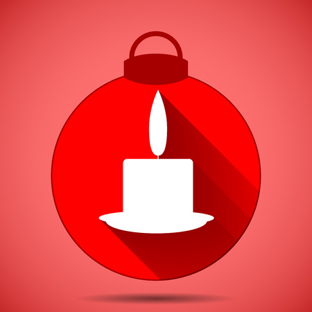 Christmas icon with the silhouette of a candle on pink background Illustration