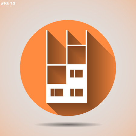 unfinished building: Construction icon with an unfinished building on a light background Illustration