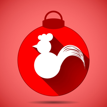 Christmas icon with the silhouette of a rooster on a pink background