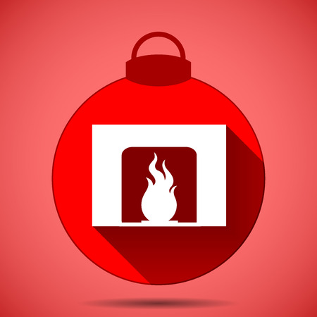 Christmas icon with the silhouette of a fireplace on a pink background Illustration
