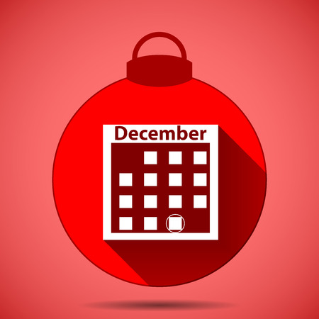 Christmas icon of a silhouette of a calendar on a pink background