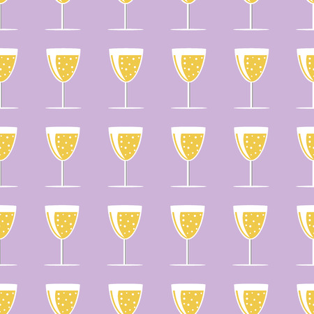 champagne orange: New year pattern with glass of champagne on a gray background