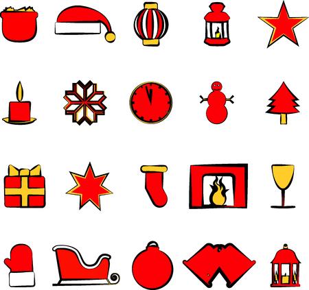 paraphernalia: Icons set with Christmas paraphernalia on a white background
