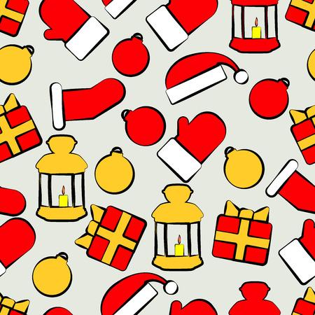paraphernalia: Pattern with Christmas paraphernalia on a gray background