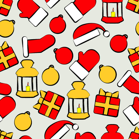 Pattern with Christmas paraphernalia on a gray background