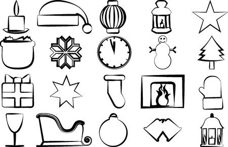 paraphernalia: Drawn icons with Christmas paraphernalia on a white background
