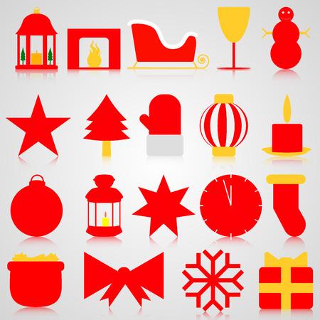paraphernalia: Red icons with Christmas paraphernalia on a gray background Illustration