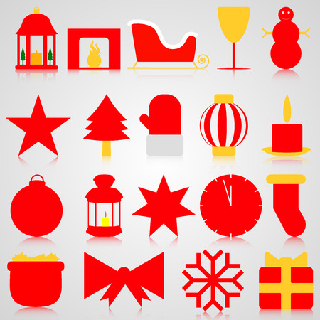 Red icons with Christmas paraphernalia on a gray background Illustration