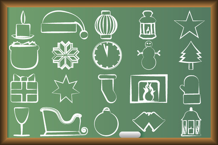 paraphernalia: Drawn icons with Christmas paraphernalia on the school board