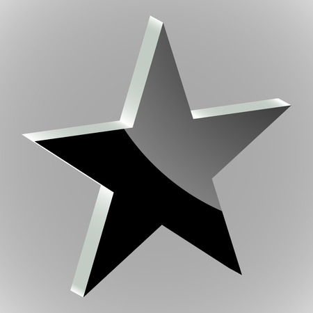 estrellas cinco puntas: Sticker silhouette of five-pointed stars on a grey background