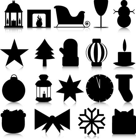 paraphernalia: Silhouettes of Christmas paraphernalia on a white background Illustration
