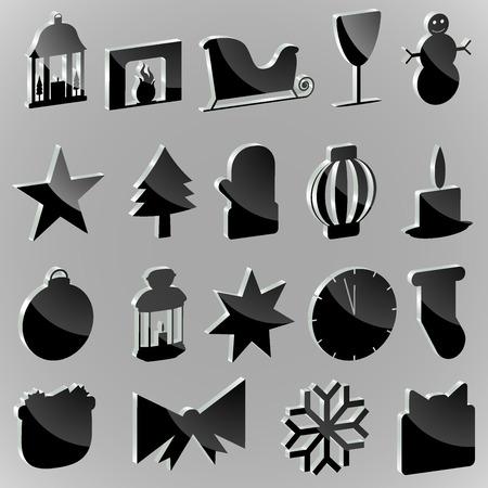 paraphernalia: Silhouettes stickers Christmas paraphernalia on a white background