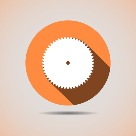 saw blade: Construction icon of the circular saw blade in orange background