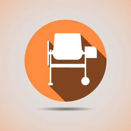 Construction icon of the silhouette of a cement mixer in orange background