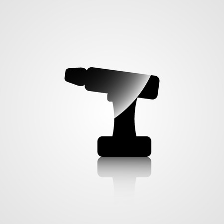 impact wrench: Construction icon of the silhouette of the screwdriver on a gray background Illustration