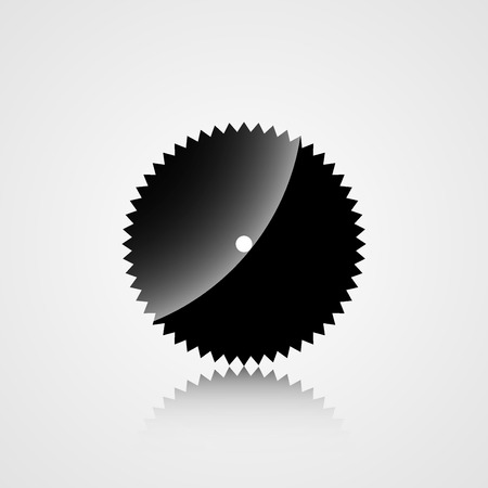 warning saw: Construction icon silhouette disk of a circular saw on a gray background