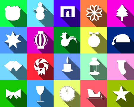 paraphernalia: Colorful icons of silhouettes of Christmas paraphernalia for the site