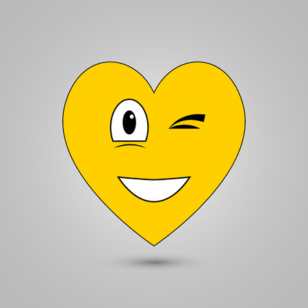 Smiley in heart shape on grey background