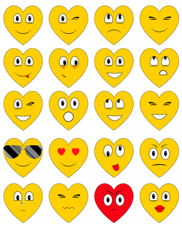 The set of emoticons in the shape of a heart with different emotions