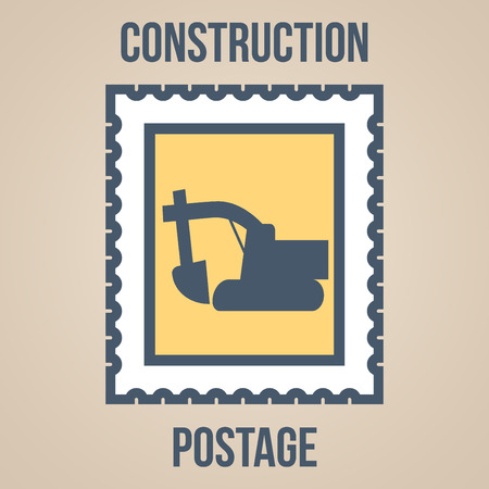 building site: Postage stamp icons of silhouettes of construction tools