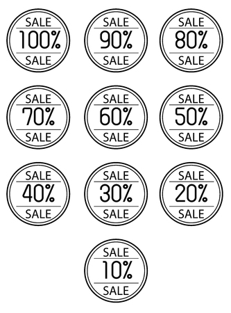 Icon sales with percent on a white background 向量圖像
