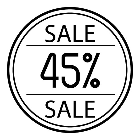 Icon sales with percent on a white background Illustration