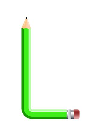 Letter of colored pencils, alphabet on white background