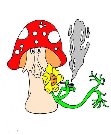 pijp roken: Een illustratie van een pijp roken bloem leunend tegen zijn champignon vriend. Geïsoleerd op een witte achtergrond. Stock Illustratie