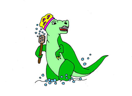 An illustration of a cartoon donosaur having a shower. Isolated on a white background.