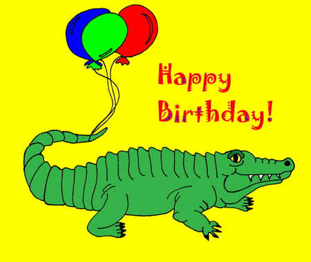 An illustration of an alligator with balloons tied to his tail and the words Happy Birthday above him On a bright yellow background. Vector