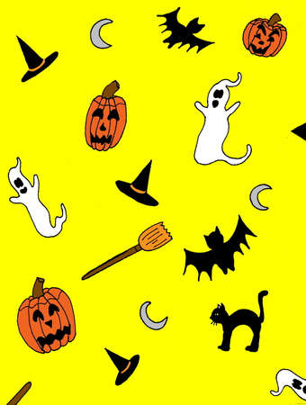 bight: An illustrated Hallowenn Background with ghosts, pumpkins, brooms, hats and bats, on a bight yellow background.