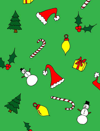 An illustrated Christmas background with hats, trees, holly, snowmen and candy canes, on a green background. Ilustrace