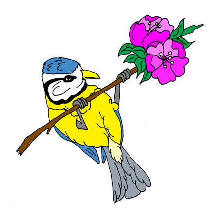 An illustration of a songbird on a branch with flowers. Isolated on a white backgound