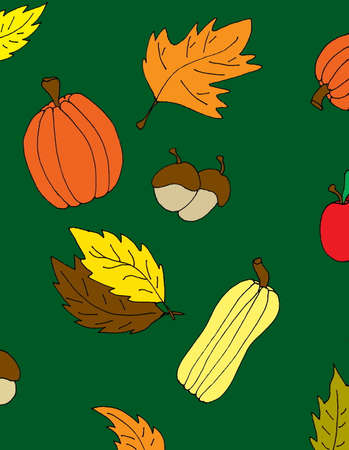 An illustrated Autumn background with acorns, leaves, pumpkins and squash,. Ilustrace