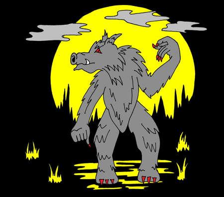 Een illtration van een werebeast ook infront van een volle maan.