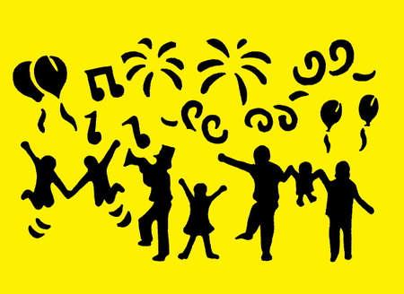 Black stillouettes celebrating with a bright yellow background. Ilustração