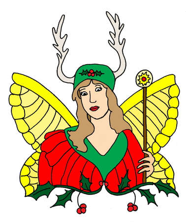 faerie: An illustration of a Yule faerie