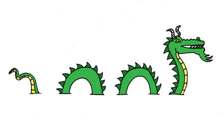 An illustration of a Sea serpent going on and off the page. Çizim