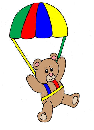 An illustration of a bear parachuting, isolated on white.