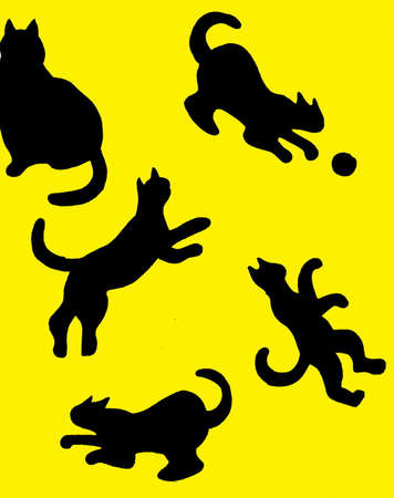 A bright yellow background with cats on it Illustration